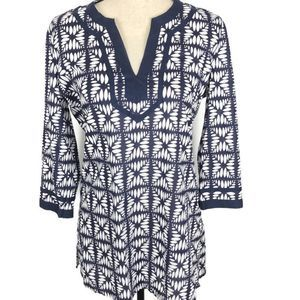 J. Crew Factory Printed Tipped V-Neck Tunic